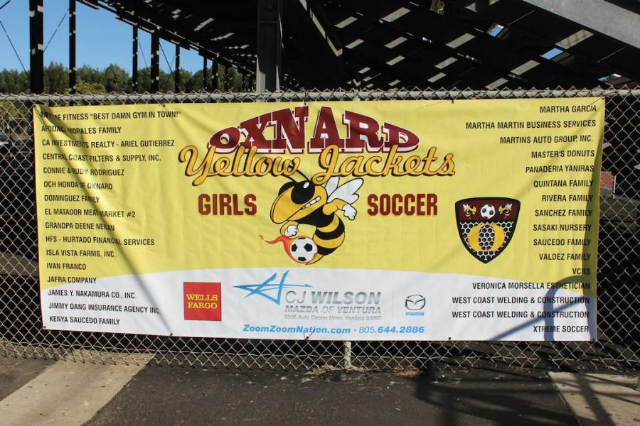 The OHS girls varsity soccer team's banner.