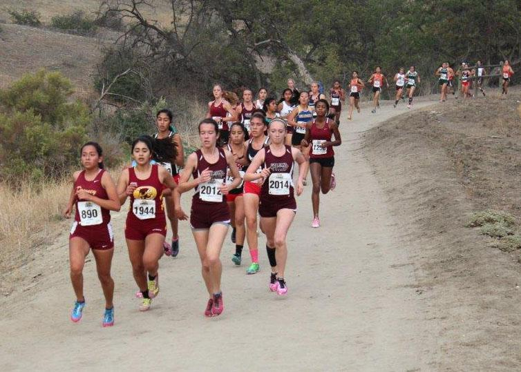 Juarez leads a pack of girls in the first mile.