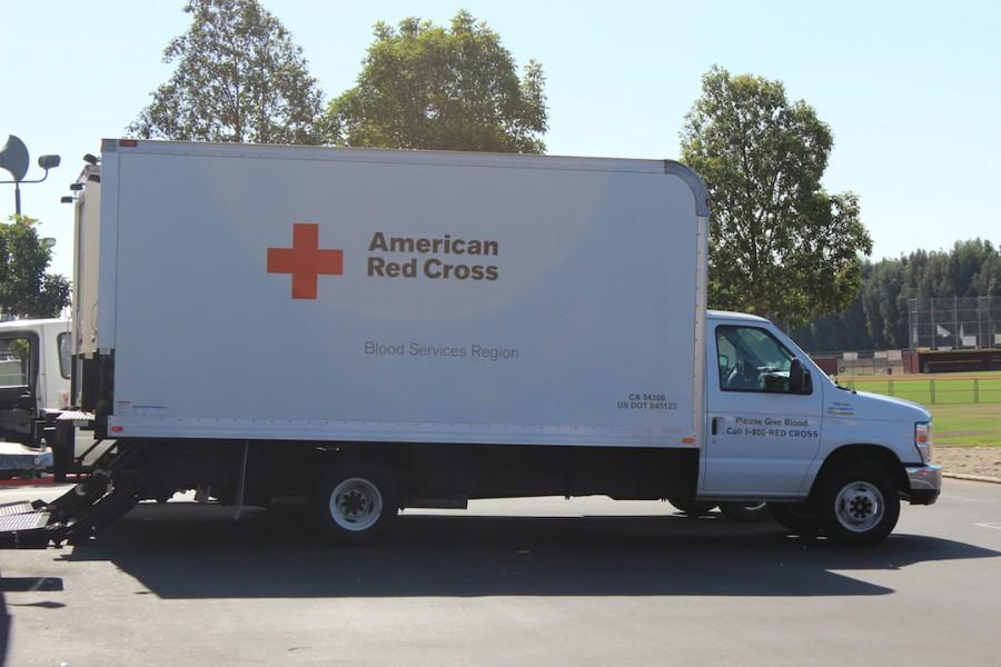 American Red Cross truck behind the small gym.