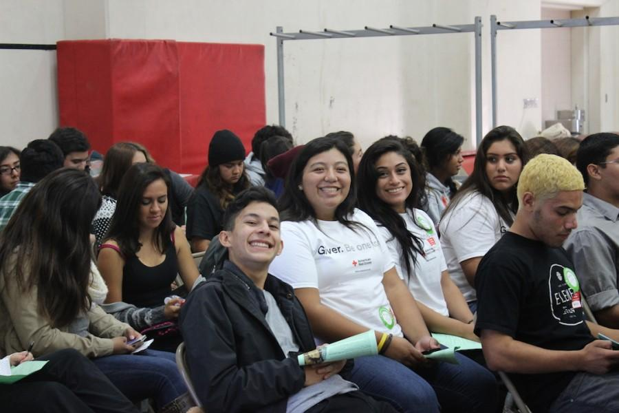 OHS students waiting in line to donate their blood.